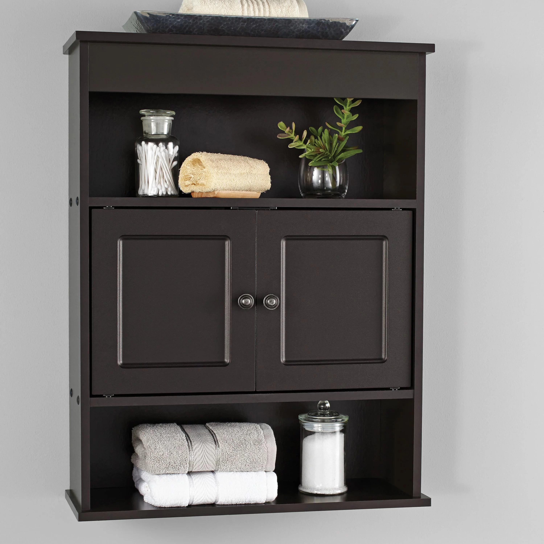 Mainstays Bathroom Wall Mounted Storage Cabinet With 2 Shelves Espresso Walmart Com Walmart Com