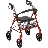 Drive Medical Four Wheel Walker Rollator with Fold Up ...