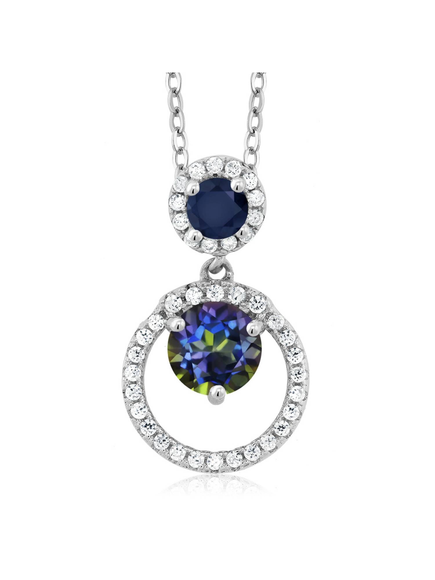 1.96 Ct Round Blue Mystic Topaz Blue Sapphire 925 Sterling