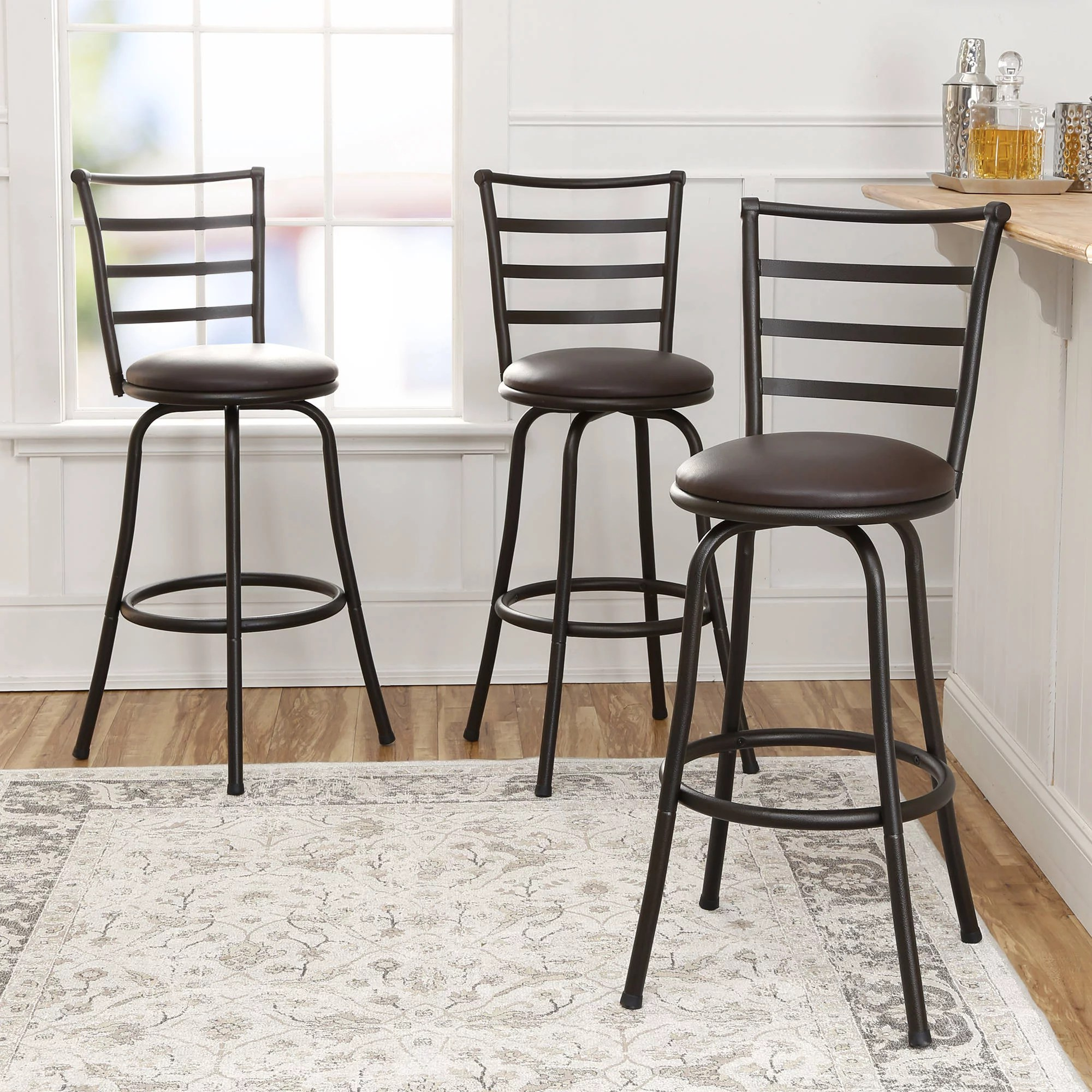 Metal Counter Height Chairs New Mainstays Adjustable Height Swivel Bar Stool Set Of 3