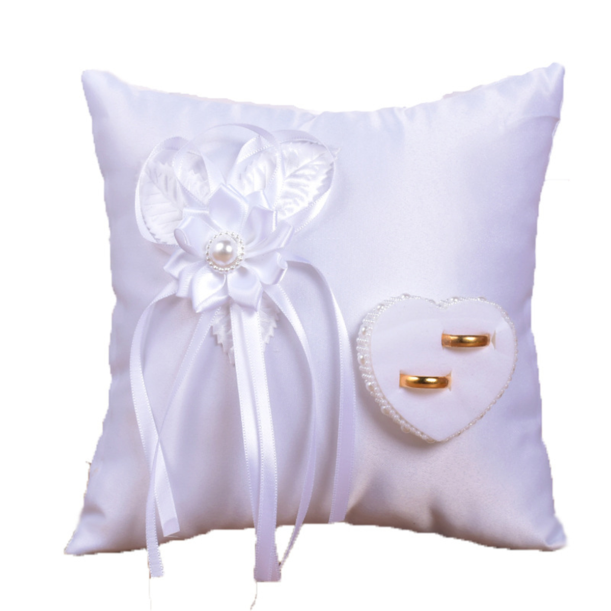 white wedding ring bearer pillow cushion for indoor outdoor beach wedding ceremony 7 9x7 9 inch rings not included walmart com