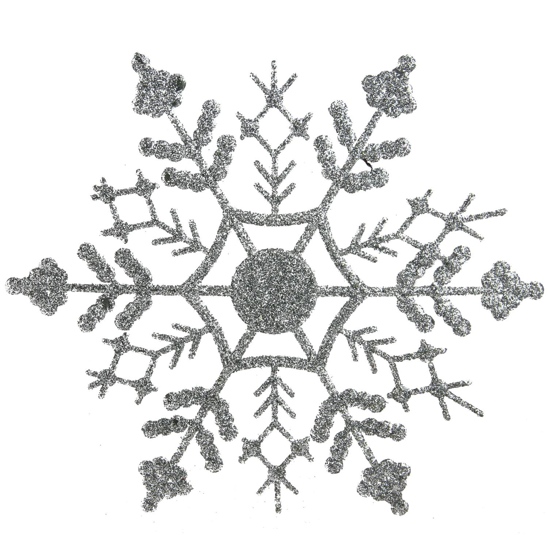 Club Pack of 24 Silver Splendor Glitter Snowflake