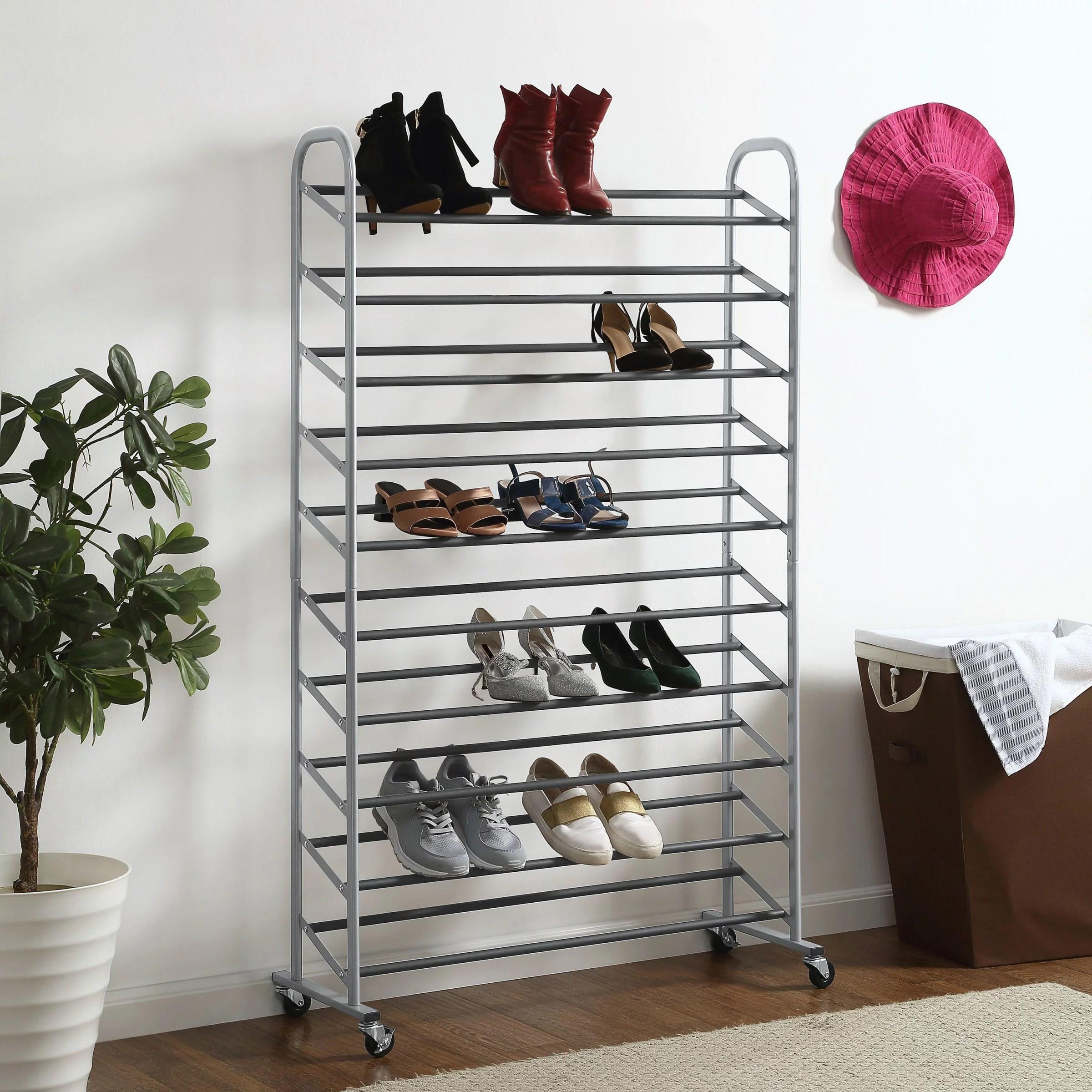 mainstays 10 tier rolling shoe rack versatile design for all shoe types