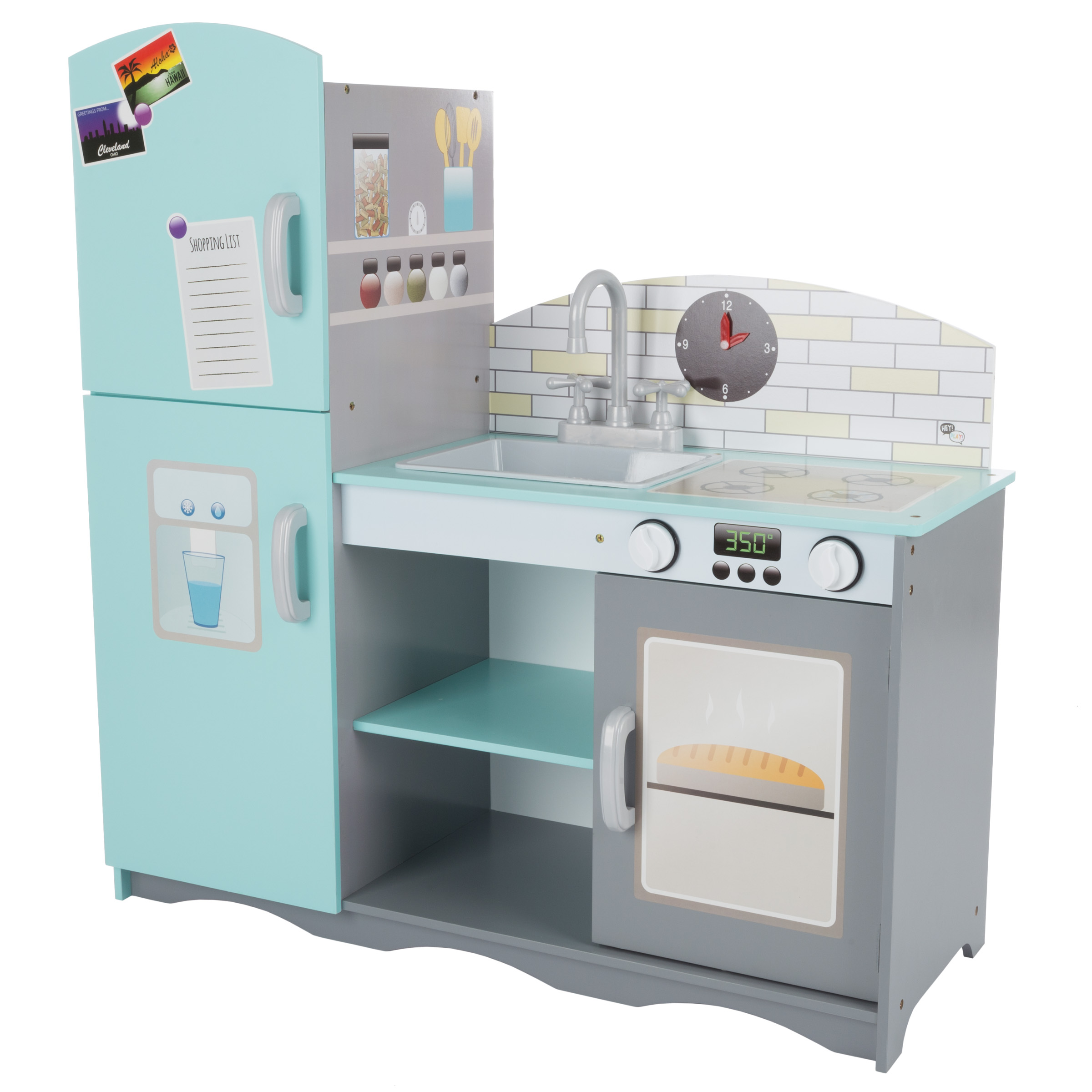 boys play kitchen set fun gadgets kids toy pretend home playset with oven sink stove refrigerator freezer and more for girls by hey