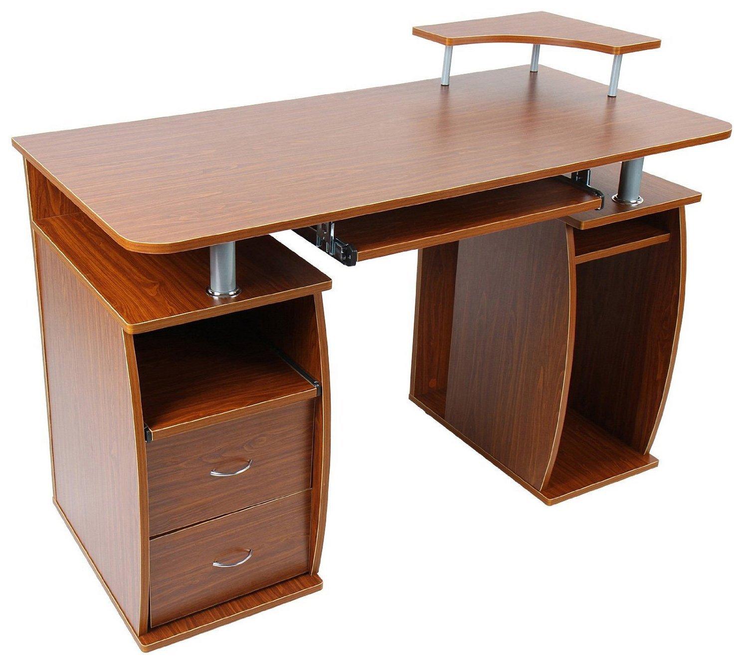HomCom Home Office Computer Desk with Elevated Shelf