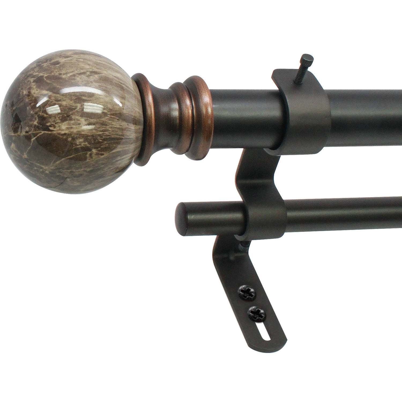 decopolitan core marble ball 1 double curtain rod set walmart com