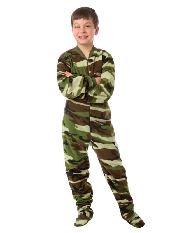Big Feet Pjs Kids Green Camo Fleece Boys Footed Pajamas Piece Sleeper