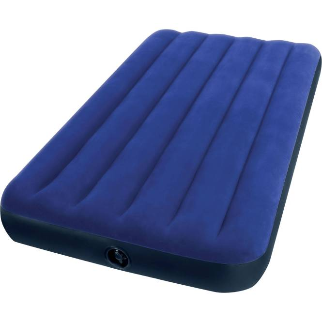 Intex Deluxe Twin Pillow Rest Raised Soft Flocked Air Mattress Pump 67731e