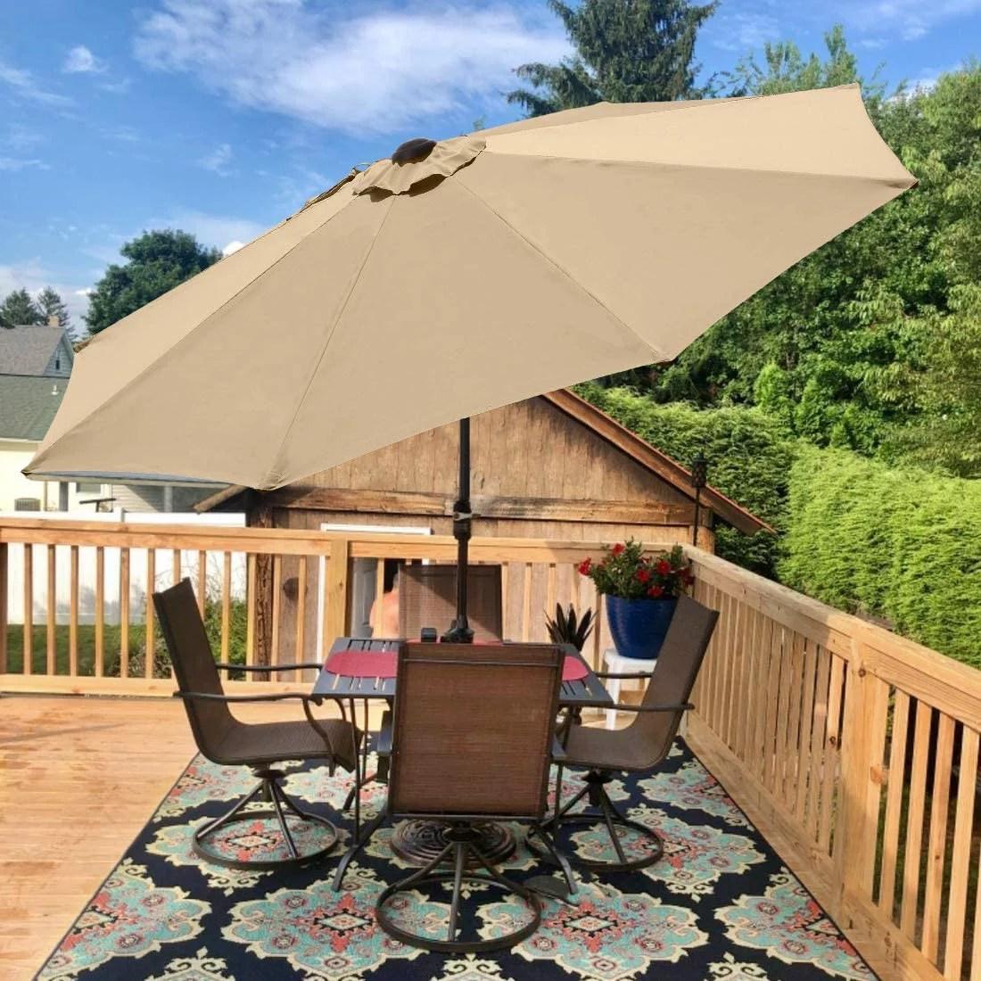 quictent 9ft tan patio umbrella 3 years non fading outdoor garden table canopy market umbrella pool backyard with ventilation top 8 ribs 240g