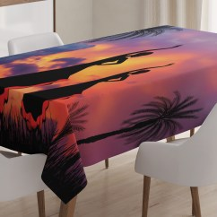 Dining Chair Covers In Spanish For Chairs Without Arms Tablecloth Silhouette Of Two Girls Dancing Flamenco With Dramatic Cloudy Sunset Sky Background Rectangular Table Cover Room Kitchen