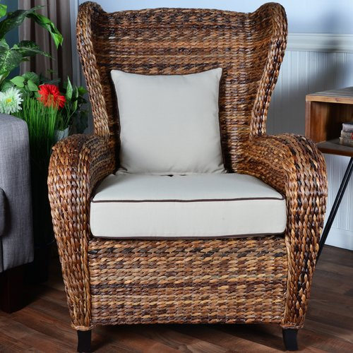 rattan wingback chairs skeleton chair wake me up bayou breeze averi traditional indoor outdoor rolled with cushion walmart com