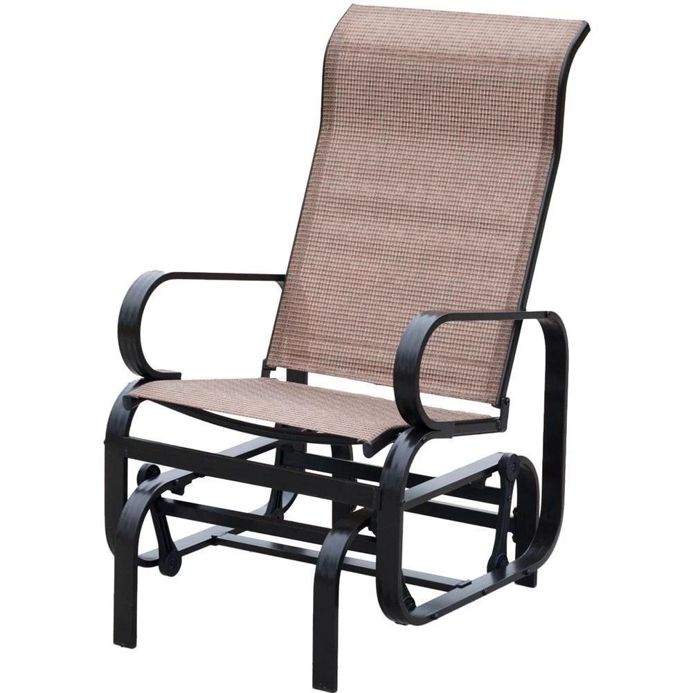 patiopost sling glider outdoor patio chair textilene mesh fabric tan