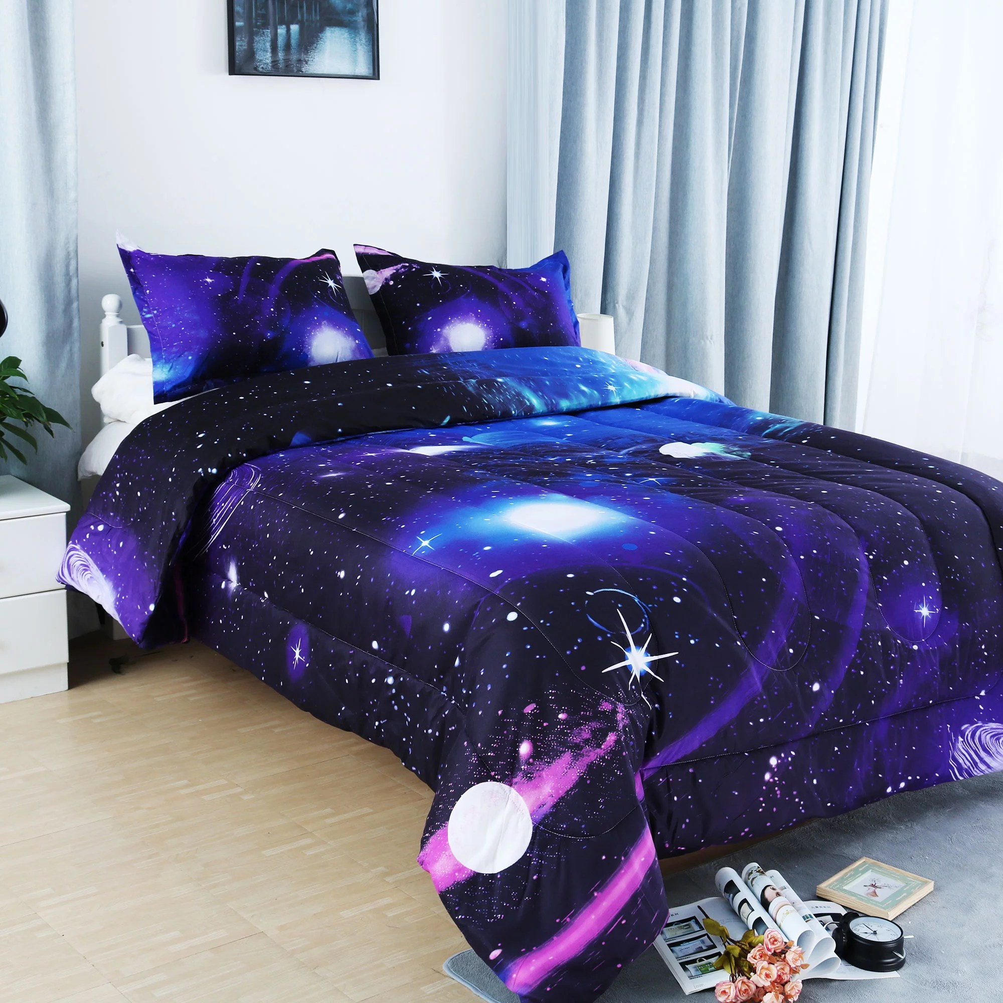 full queen 3pcs galaxies purple comforter set all season down quilted duvet