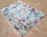 Wool Viscose Area Rug 6x9 ft Hand Tufted Beige Base with ...