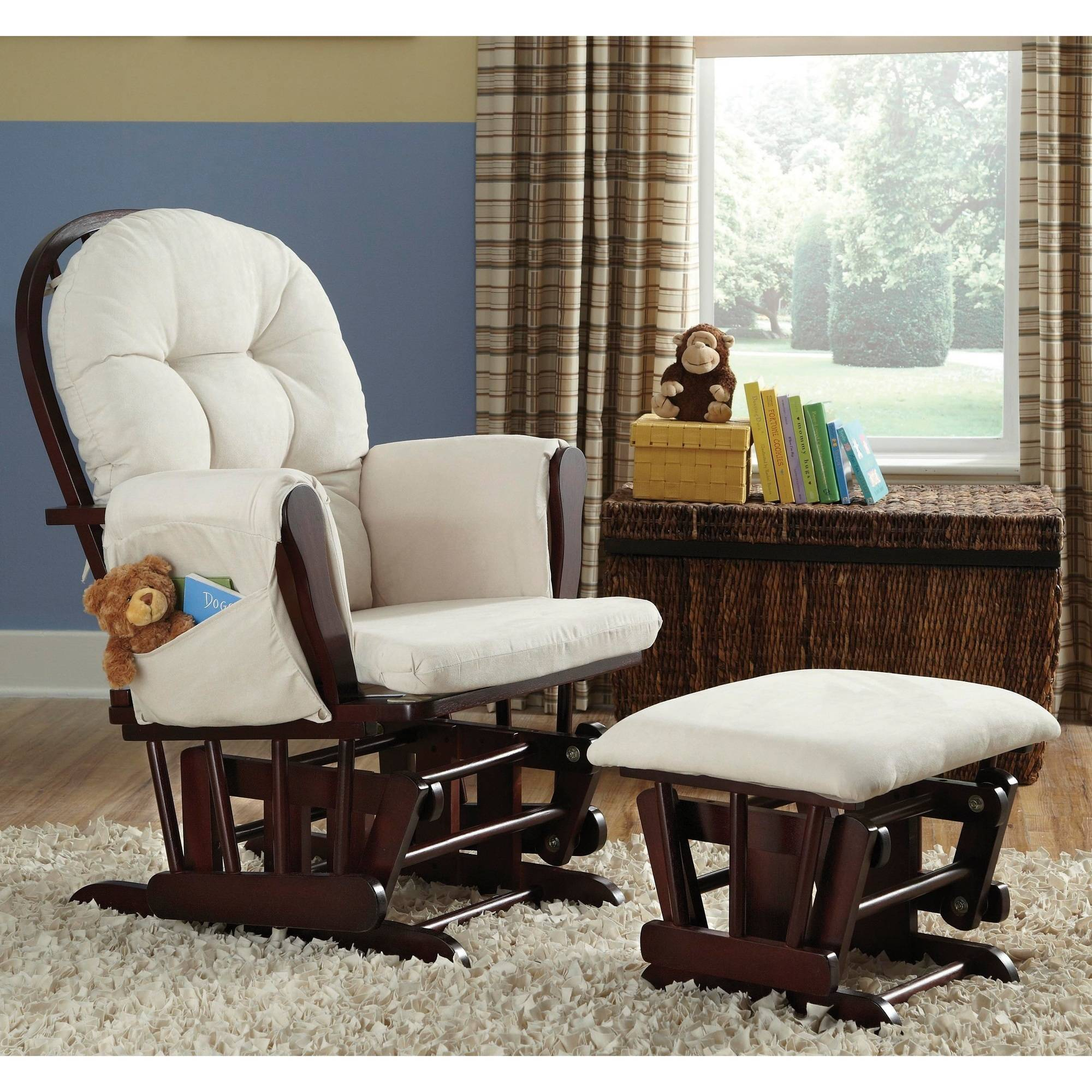 rocking chair ottoman cushions chess table and chairs nursery glider baby set wood