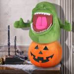 Gemmy Holiday Greeter Ghostbusters Slimer On Pumpkin