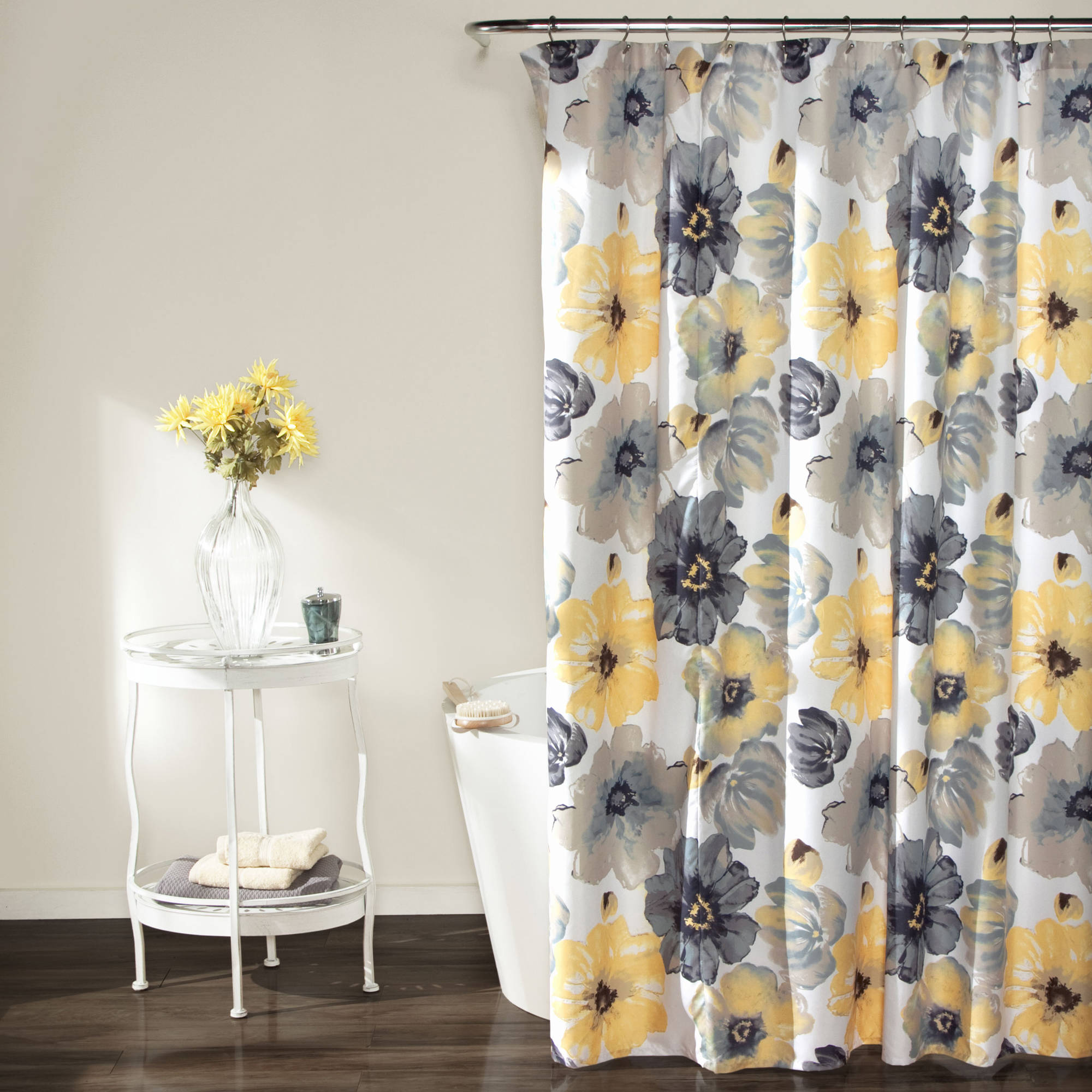 lush decor leah floral polyester shower curtain 72x72 yellow gray single walmart com
