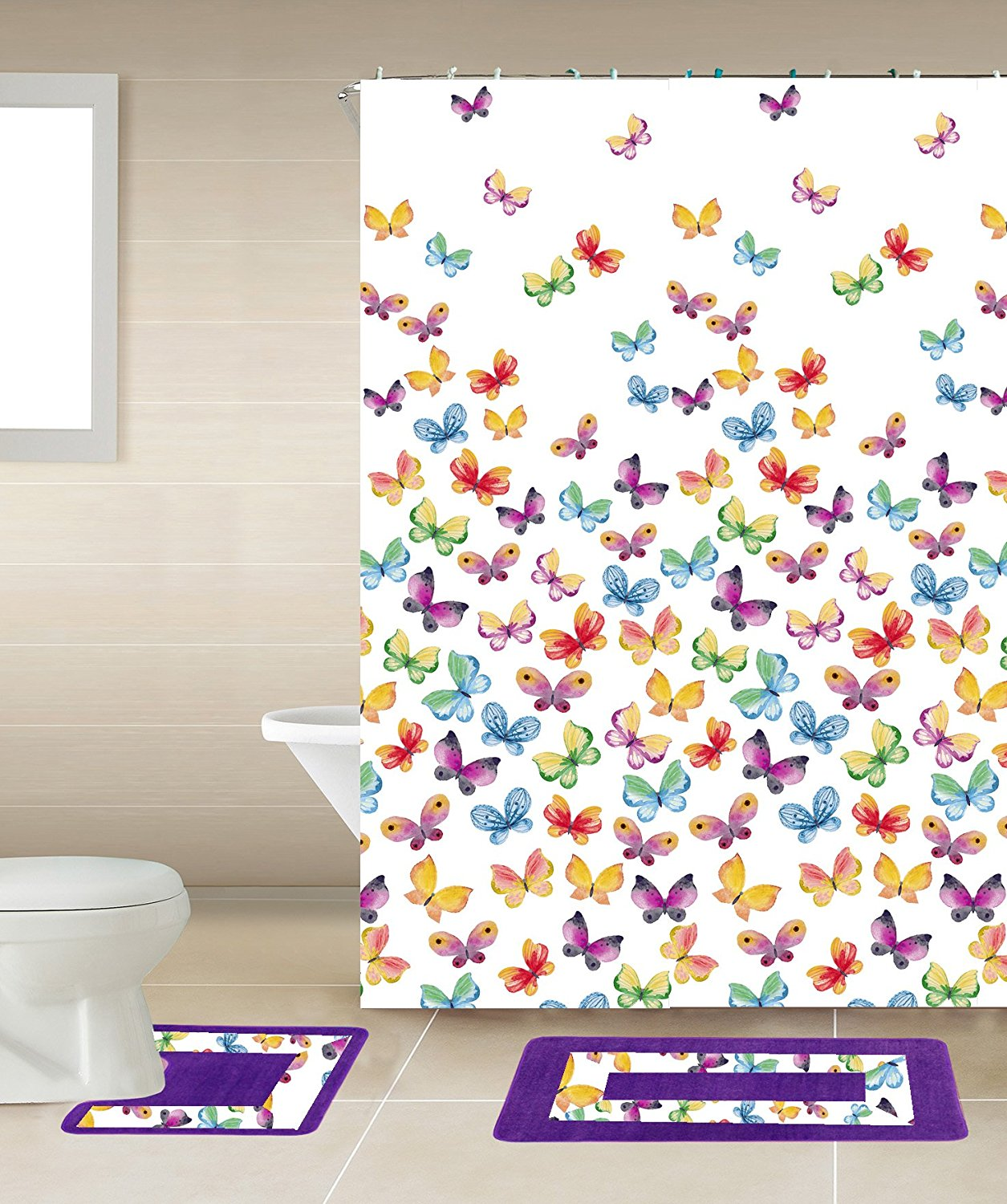 15pc MULTICOLOR BUTTERFLY Bathroom Set Printed Banded Rubber Backing Rug Bath Mats With Fabric