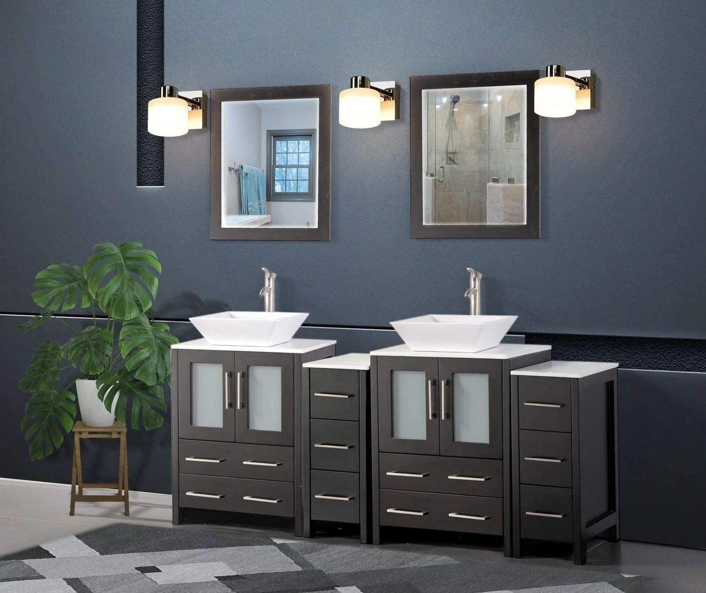 vanity art 72 inches double sink bathroom vanity compact set 4 cabinets 2 shelves 10 drawers quartz top and ceramic vessel sink bathroom cabinet