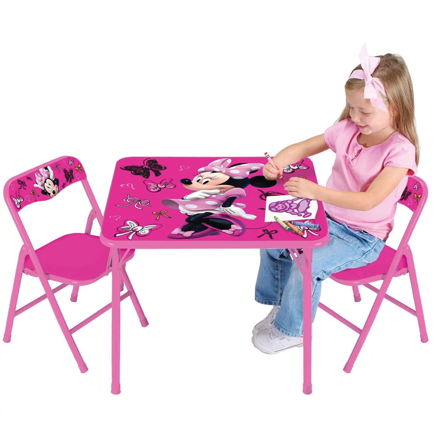 minnie table and chairs macrame swing chair pattern disney mouse first fashionista activity set walmart com