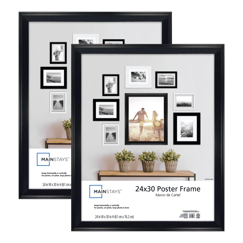 mainstays 24x30 beveled poster and picture frame black set of 2 walmart com