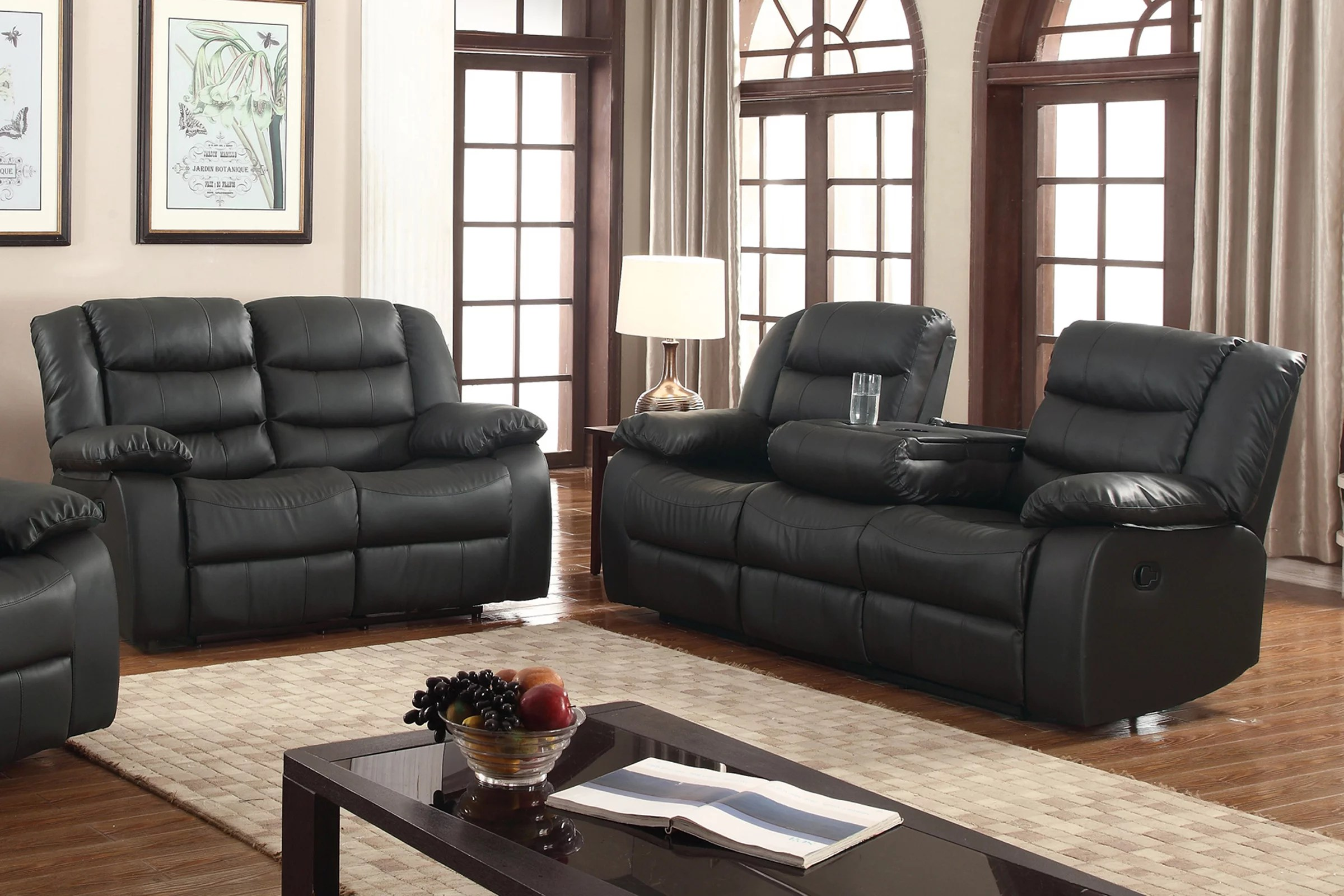 walmart living room sets furniture tv layla 2 pc black faux leather reclining sofa and loveseat set with drop down tea table com