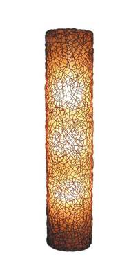 Modern Wall Mount Lamp w Woven Wicker Overlay Shade