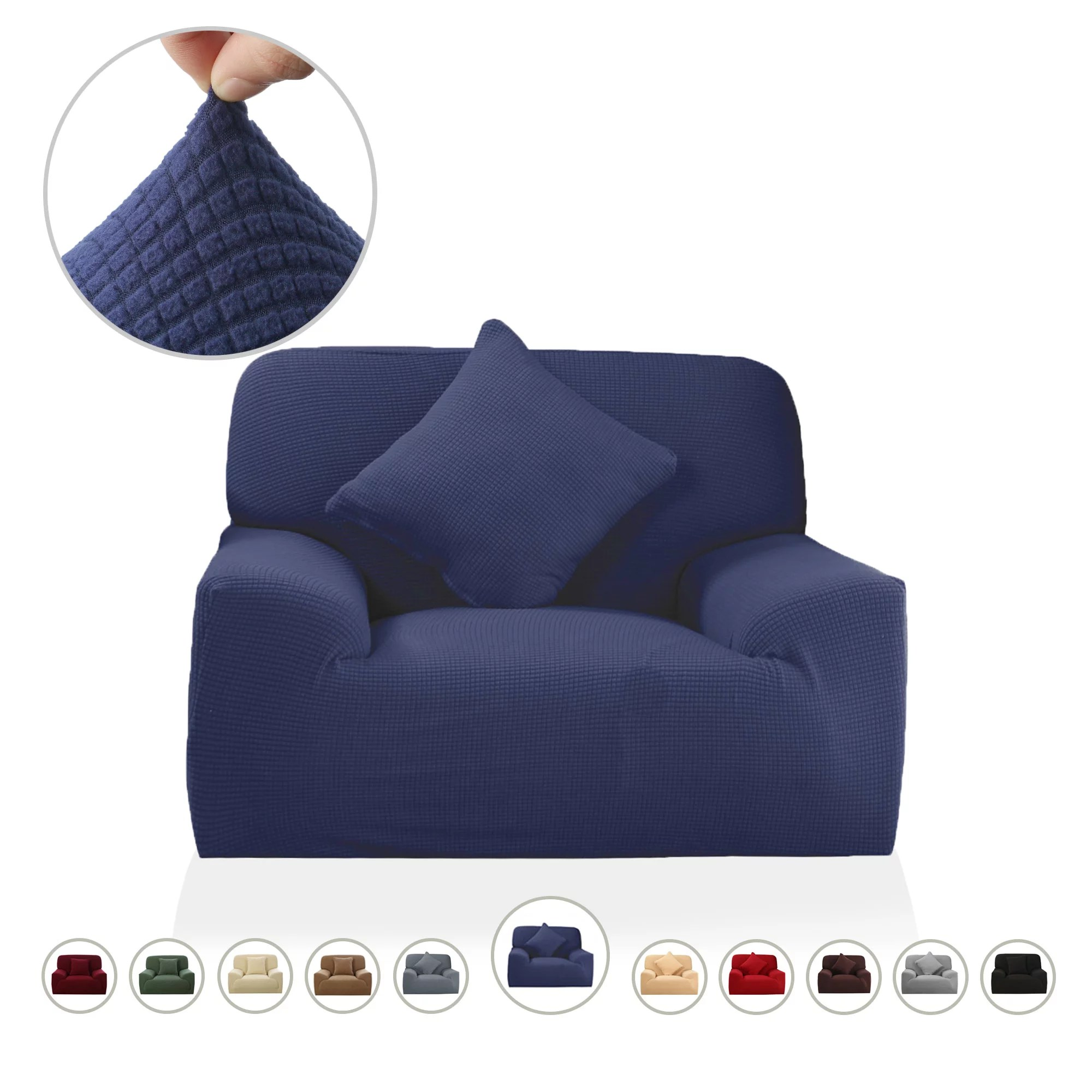 piccocasa jacquard polyester spandex strech slipcover for 1 seater chair navy blue