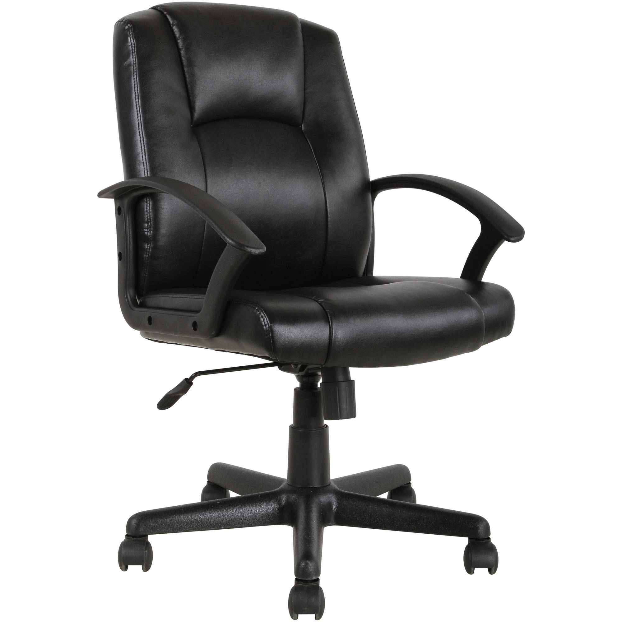 mid back office chair black Mainstays Mid-Back Leather Office Chair, Black - Walmart.com