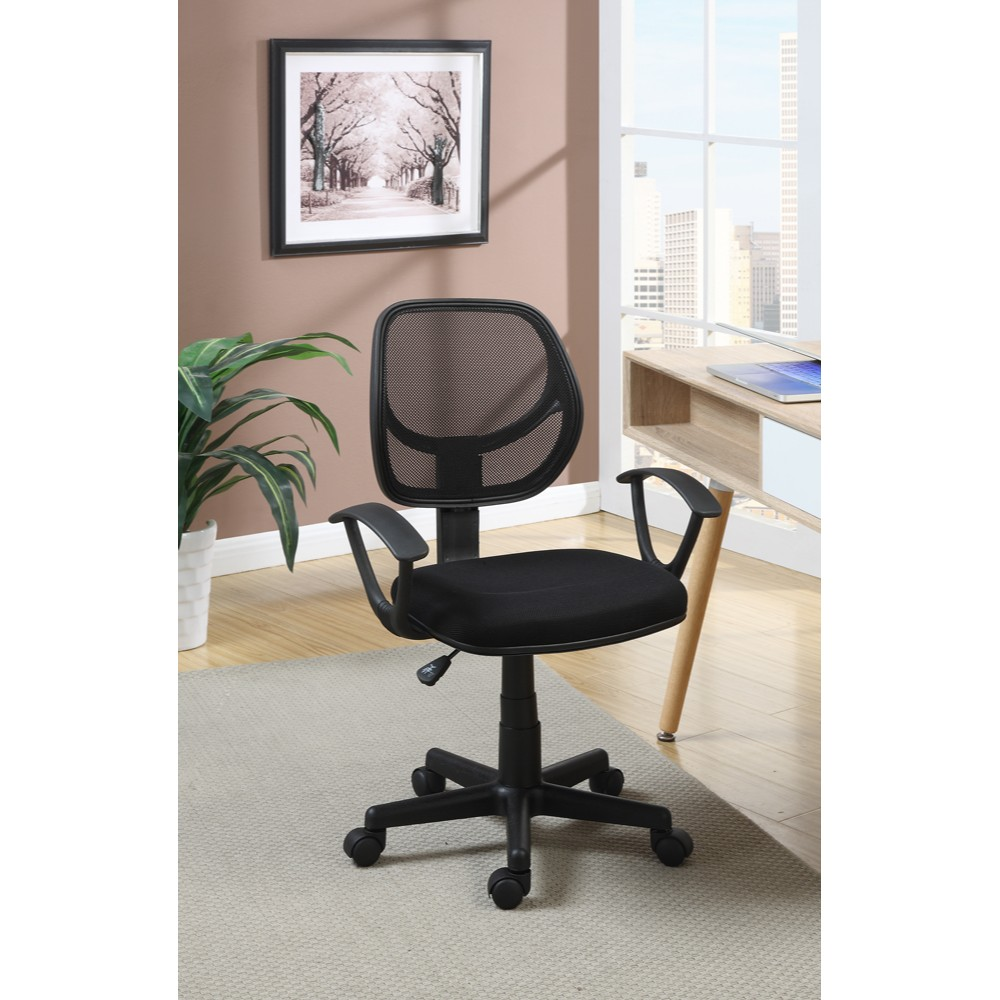 Comfy Office Chairs Faux Leather Adjustable Arm Office Chair With Gaslift Black
