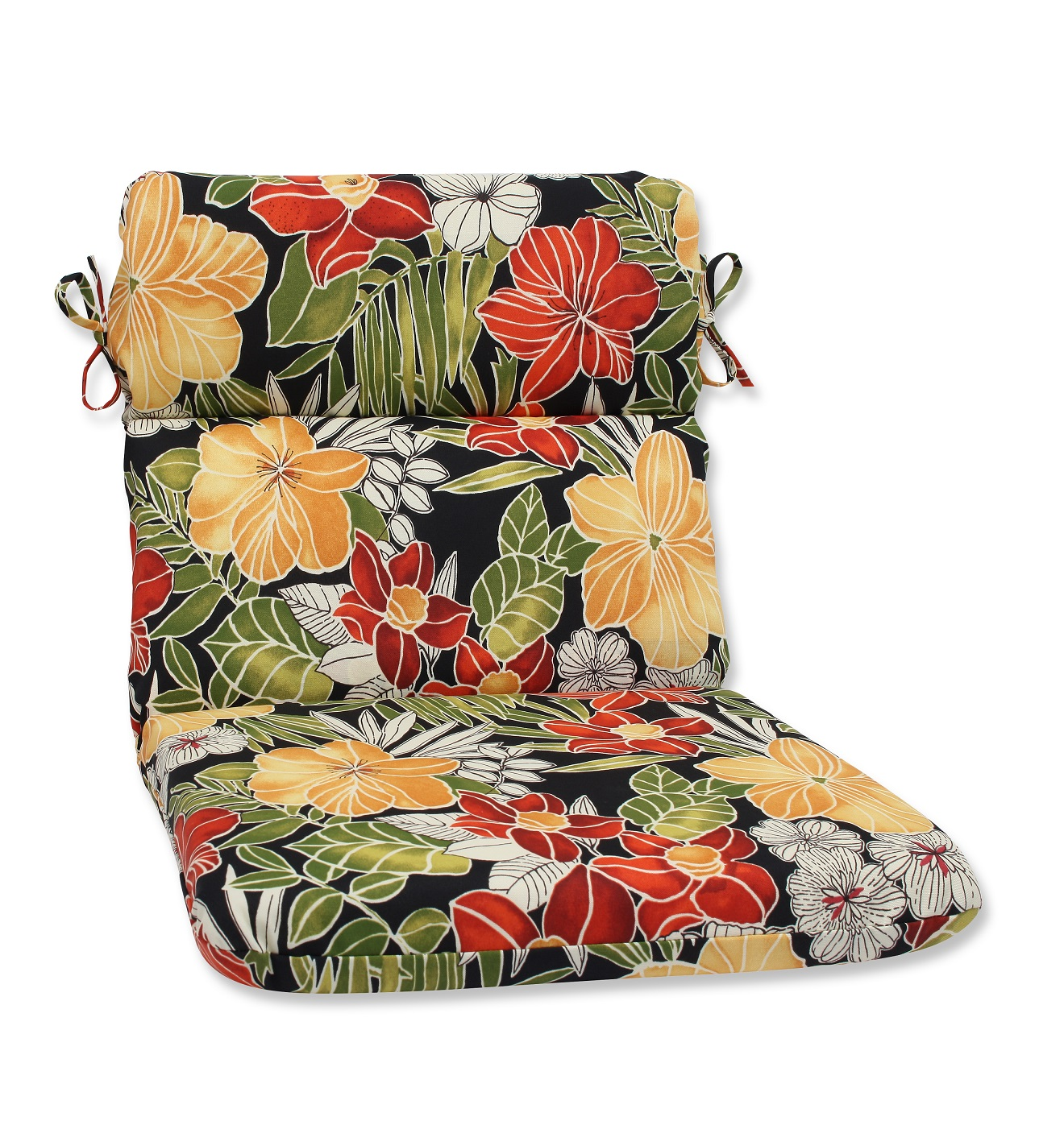 40 5 clemens noir red and black floral outdoor patio rounded chair cushion