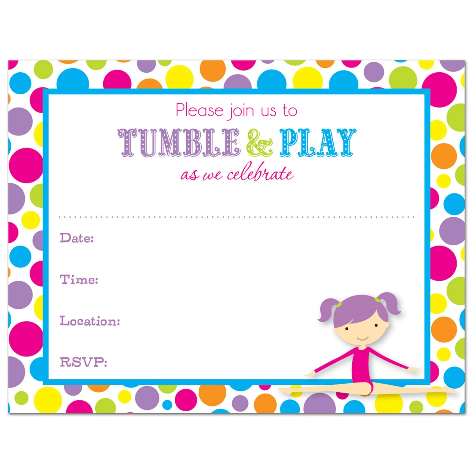 gymnastics girl fill in birthday invitations and envelopes 24 count walmart com
