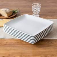 Better Homes and Gardens Coupe Square Dinner Plates, White ...