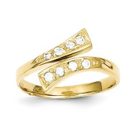 10k Yellow Gold CZ Toe Ring - Walmart.com