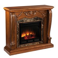 Sandro Walnut Stacked Stone Electric Fireplace - Walmart.com