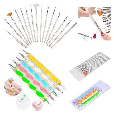 Nail Art Tools Kit Dotting Painting Drawing Polish Pen Brush Set Cosmetic 20pcs