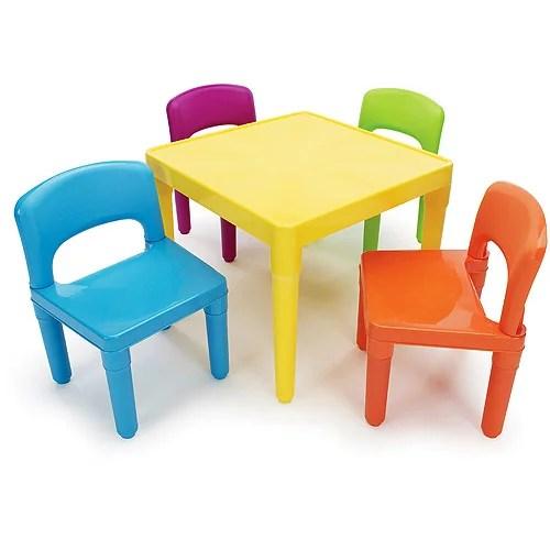 tot tutors kids plastic table and 4 chairs set multiple colors