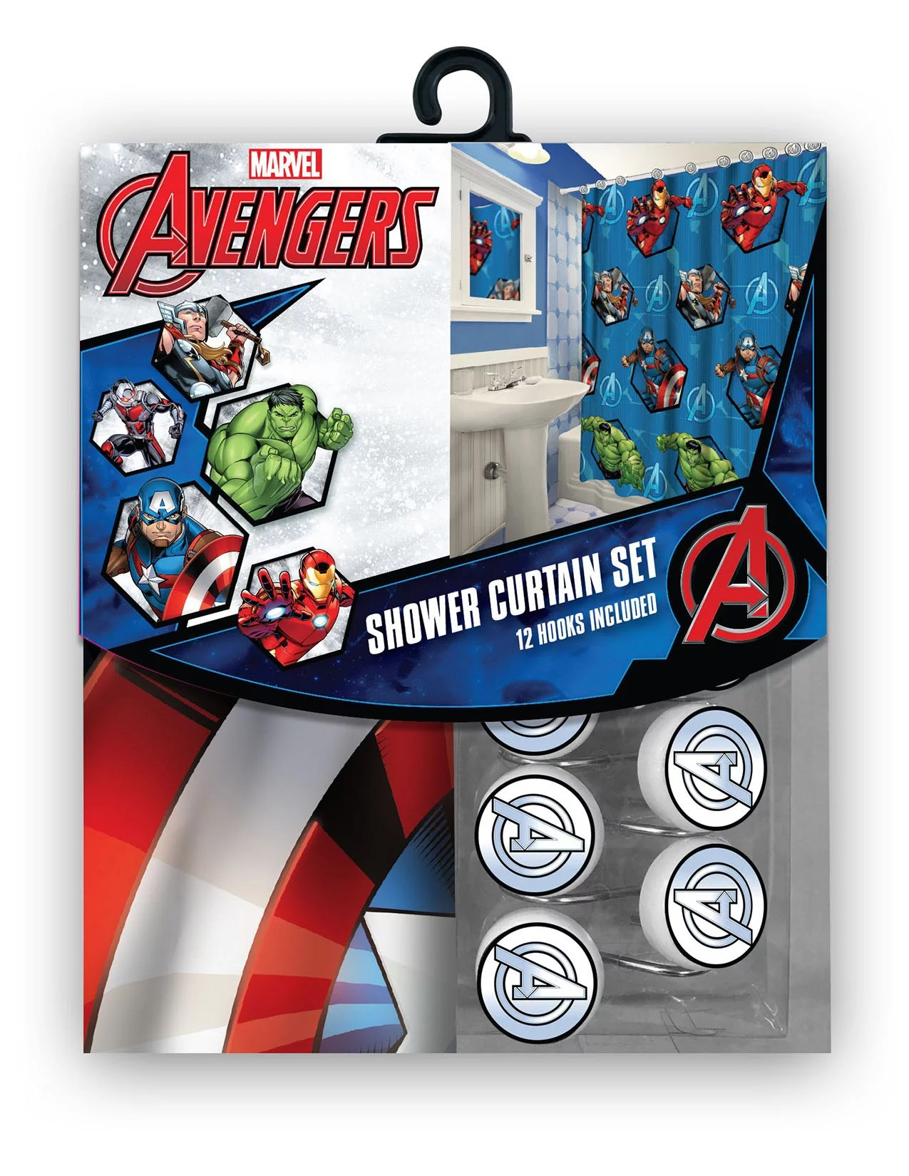 all new fabric marvel shower curtain set with 12 matching hooks