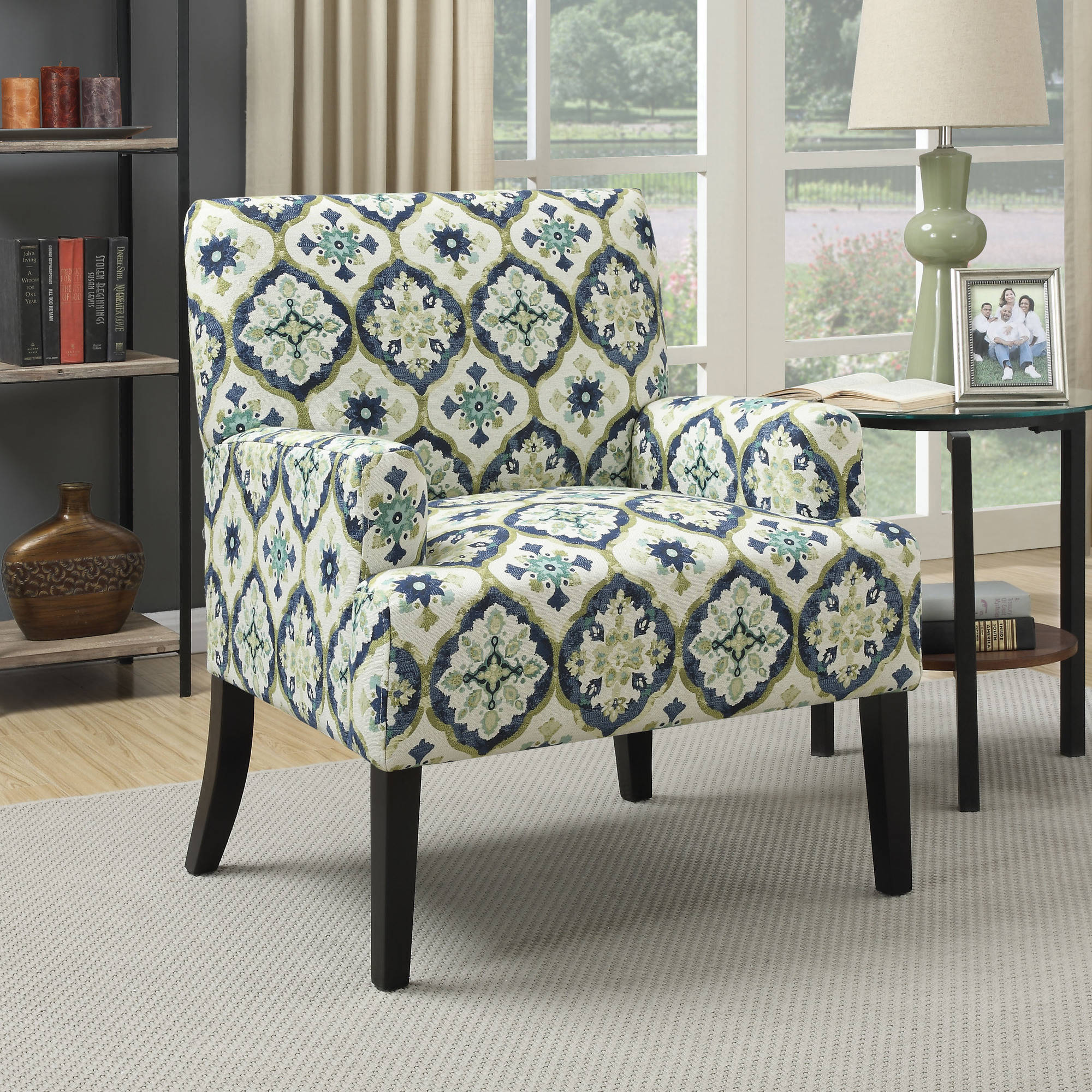 blue green chair floral coaster kaleidoscope pattern accent with and design walmart com