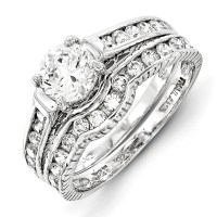 Goldia - Sterling Silver 2-Piece CZ Wedding Set Ring ...