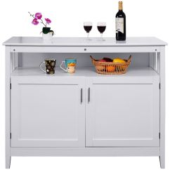Kitchen Server The Honest Com Costway Wood Storage Cabinet Buffet Table Sideboard White