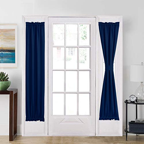 aquazolax french door curtain panel for privacy blackout rod pocket front door side panels 25x72 inches with bonus tieback 1 piece navy blue