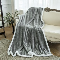 Fuzzy Sofa Dark Gray Design Ideas Langria Flannel Sherpa Throw Blanket Soft Cozy Warm Plush Couch Bed Blankets 50 In X 60 Grey Walmart Com