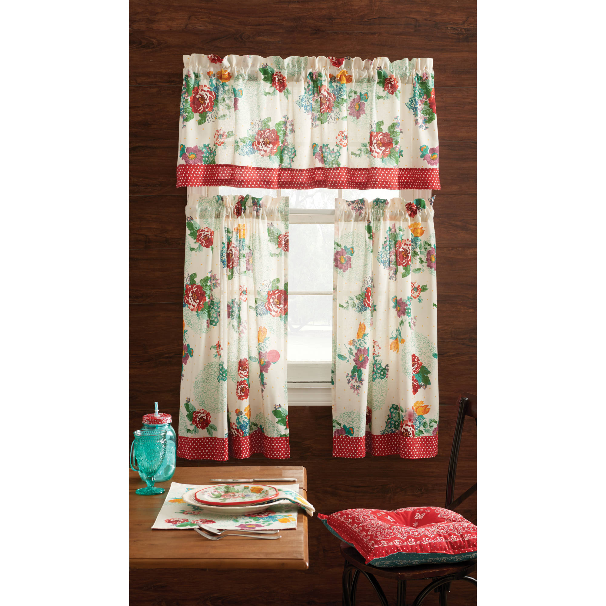 kitchen curtain patterns table rug the pioneer woman country garden 3pc kichen and valance set walmart com