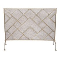 Old World Design Geometric Fireplace Screen - Champagne ...
