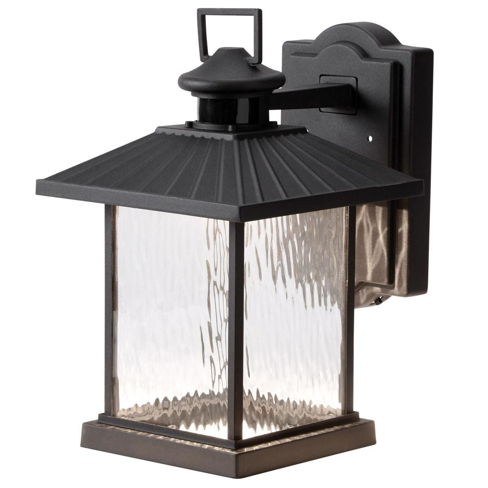 hampton bay lumsden wall mount outdoor black led motion sensor lantern