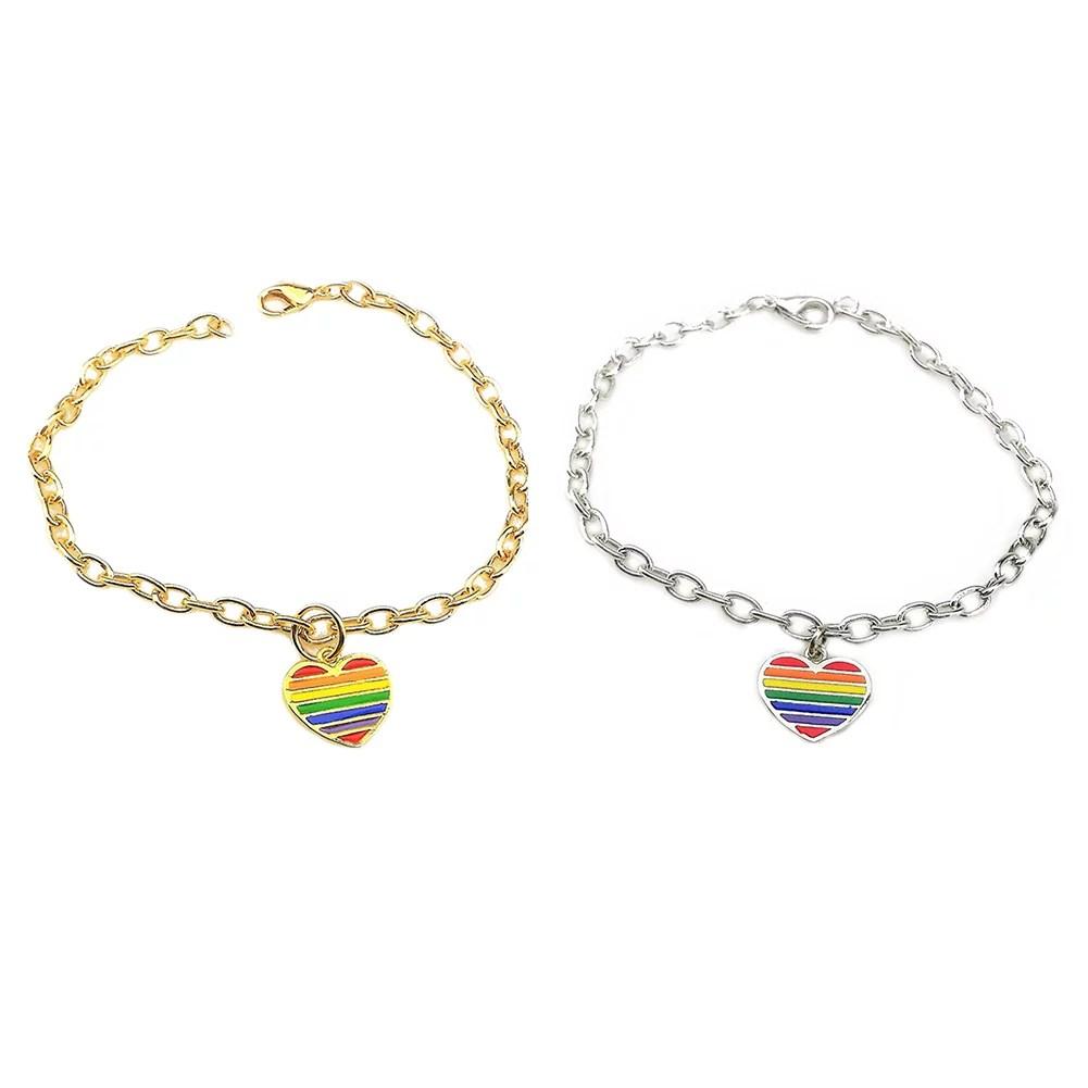 Same-sex jewelry rainbow colorful heart-shaped bracelets