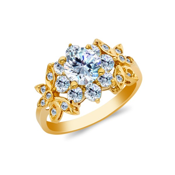 Ioka - 14k Yellow Solid Gold 1 Ct. Cut Cubic Zirconia Cz Flower Wedding Engagement Ring