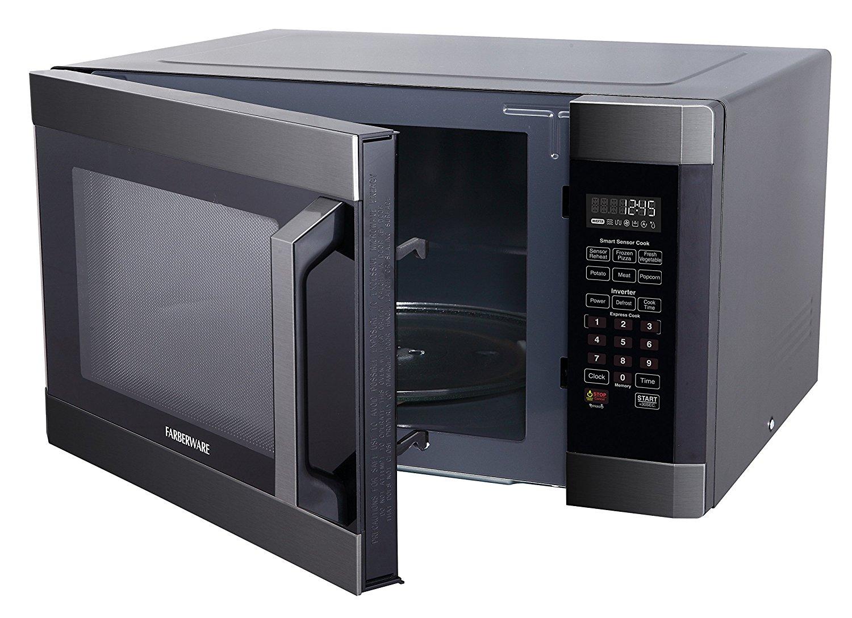 farberware microwave oven black line 1 6 cu ft 1300 watt w smart sensor and inverter technology