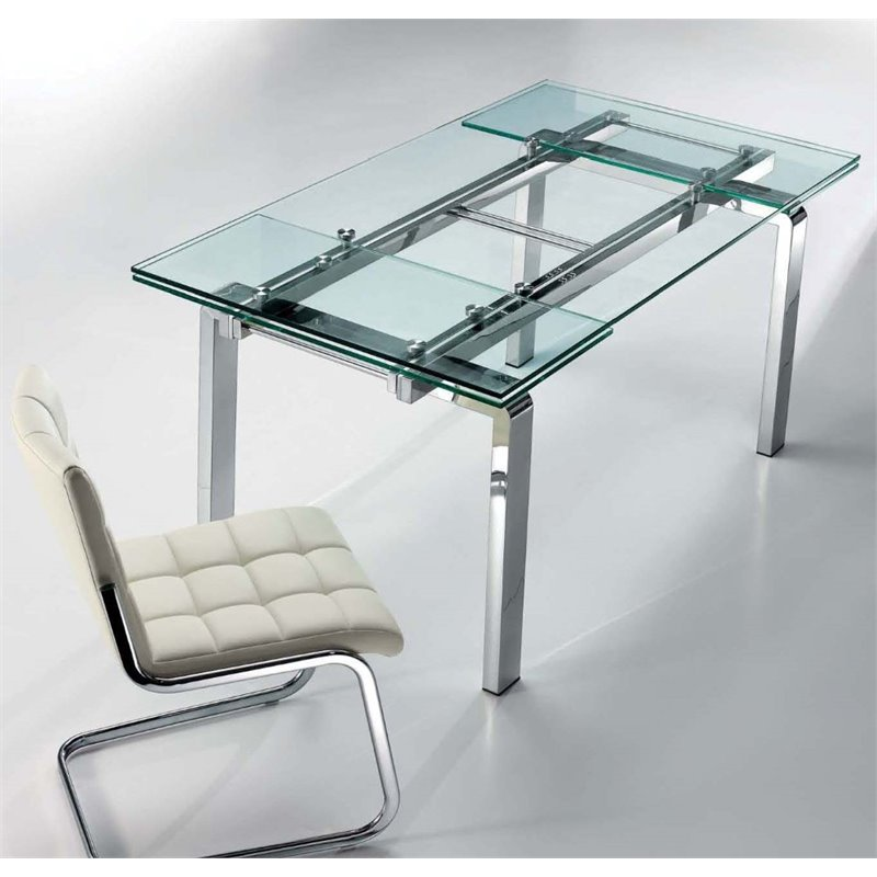 Casabianca Modern Cloud Stainless Steel Extendable Dining Table In Clear Walmart Com Walmart Com